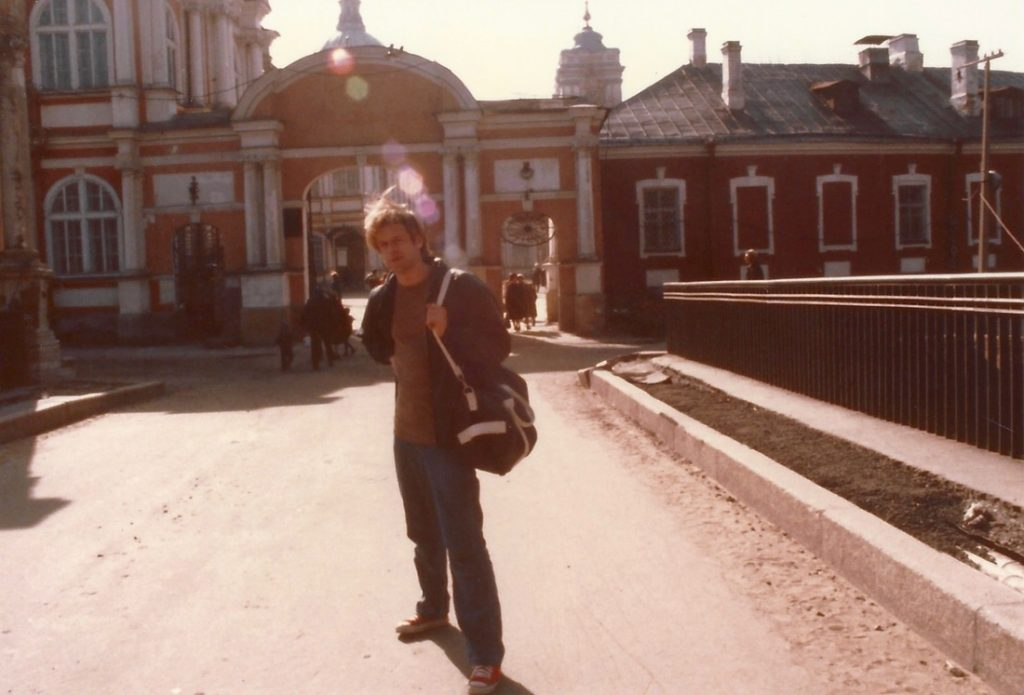 Boris March 1984 Leningrad Easter at church, last day of frist meeting, wearing Stingray's pants and red all stars