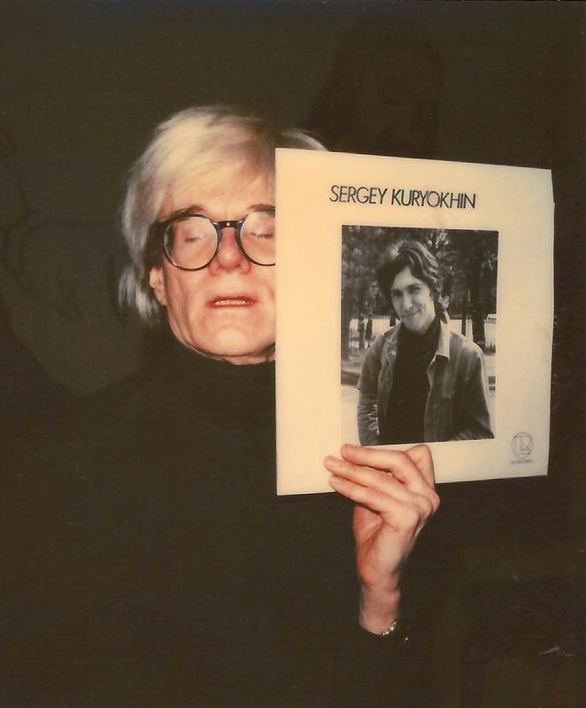 Andy Warhol holding Kuryokhin album 80's New York