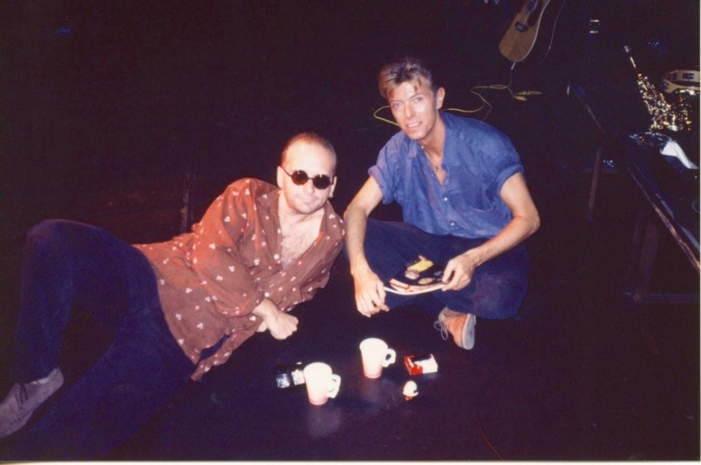 David Bowie with bandmate